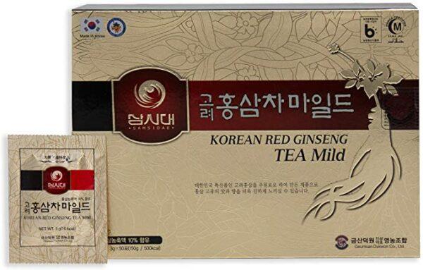 sachet de thé au ginseng rouge et sa boîte
